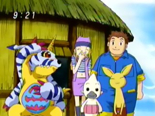Everyone looks at Gabumon